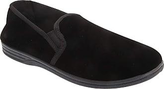 Zedzzz Mens Black Velour Twin Gusset Slipper - Ross - Black - size UK Mens Size 12