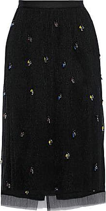 Jason Wu Jason Wu Woman Crystal-embellished Plissé-tulle Midi Skirt Black Size 10