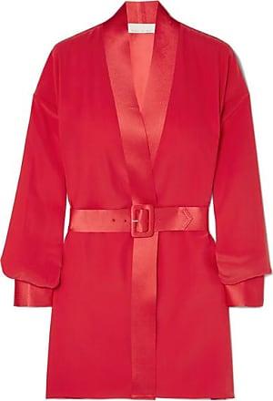 Fleur du Mal Satin-trimmed Silk-crepe Wrap-effect Mini Dress - Red