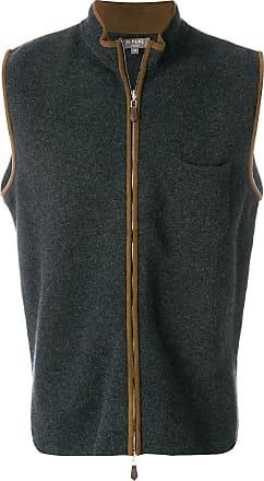 N.Peal suede trim cashmere gilet - Grey