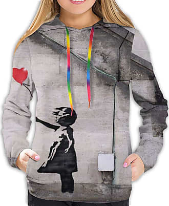Not Applicable Clothing The Banksy Girl Fashionable Soft Women Long Sleeve Hoodie Suitable for Spring Autumn and Winter Tops Black
