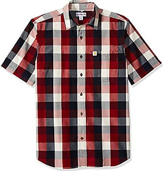 Carhartt Work in Progress Mens Essential Plaid Open Collar Short Sleeve Shirt, 639-Sun-Dried Tomato, 2X-Large