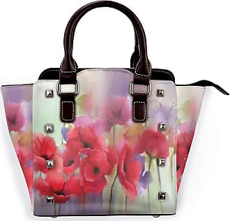 Browncin Poppy Flowers Blur Spring Floral Seasonal Romantic Illustration Print Detachable Fashion Trend Ladies Handbag Shoulder Bag Messenger Bags