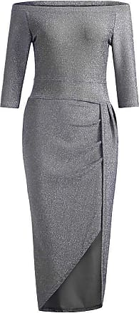 NPRADLA Vamoro Women Off Shoulder High Slit Bodycon Dress Long Sleeve Dresses Cold Shoulder Summer Casual Holiday Dress Evening Party Dress(Gray,UK-16/CN-2XL)