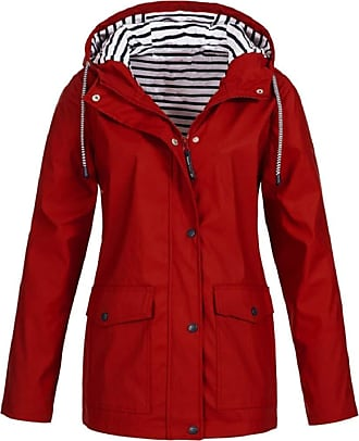 Yvelands Rain Jacket for Women Fashion Solid Color Long Sleeve Rain Coat with Hood Plus Size Outdoor Windproof Raincoat for Ladies Red