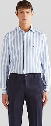 Etro Striped Shirt With Embroidered Pegaso, Man, Light Blue, Size 38