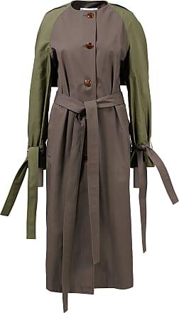 Loewe Kragenloser Mantel mit Kontrastärmeln Khaki
