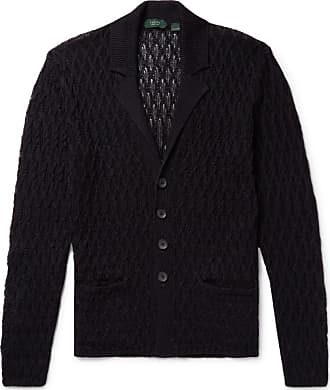 Incotex Cable-knit Linen And Cotton-blend Cardigan - Midnight blue