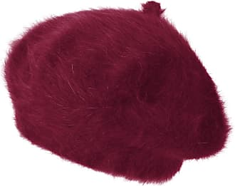 Ililily Solid Color Angora French Beret Furry Artist Flat Winter Hat, Wine with Tab