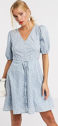 & Other Stories organic cotton ditsy floral print tie waist dress in blue
