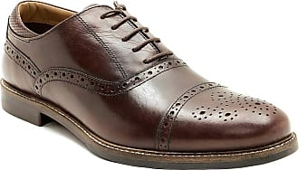 Redtape Mens Leather Lace Up Brogue Oxford Gibson Formal Classic Office Shoes (8 UK, Brown)