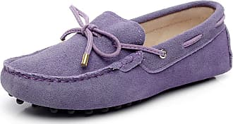 Jamron Womens Classic Suede Bow Tie Loafers Comfort Handmade Slipper Moccasins Purple 24208-2 UK8