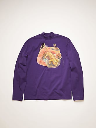 Acne Studios FN-MN-TSHI000227 Deep purple Long sleeved dinosaur print t-shirt