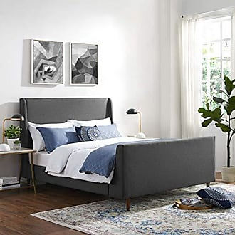 ModWay Aubree Upholstered Fabric Sleigh Queen Platform Bed in Gray