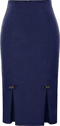 Belle Poque Womens Well Elastic Business Pencil Skirt Knee-Length Navy Blue(587-4) Medium