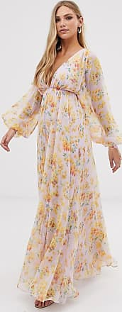 Asos blouson sleeve maxi dress in delicate floral print-Multi