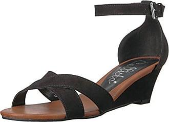 83fdca309 Callisto Womens Strobe Wedge Sandal Black Suede 11 M US