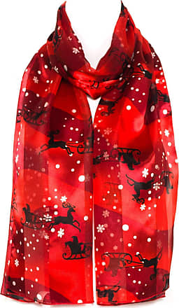 Santa Sleigh With Snowflakes Chiffon Satin Ladies Scarf