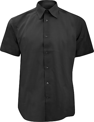 Russell Athletic Russell Collection Mens Short Sleeve Easy Care Tailored Oxford Shirt (16.5inch) (Black)