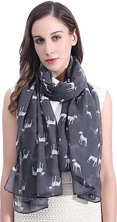 Lina & Lily Bull Terrier Dog Print Large Scarf Lightweight (Dark Grey)(Size: 180cm x 90cm)