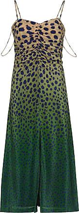 House Of Holland Vestido midi de seda em degradê com estampa de guepardo - Marrom