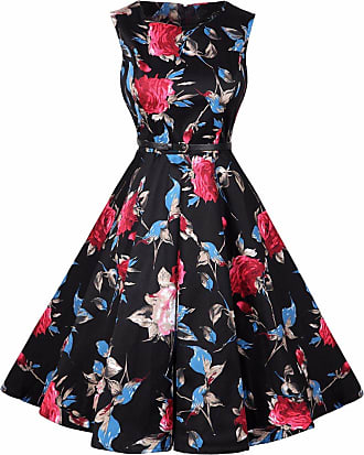 74279c9fbac7 Emma Womens Vintage Hepburn Style A-line Cotton Swing Dress Classic 1950s  Rockabilly Retro Floral