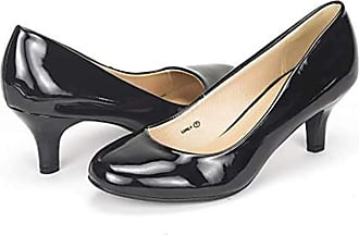 Dream Pairs Womens Slip On Low Kitten Heels Round Toe Pump Court Shoes Luvly Black Pat Size 9 US/ 7 UK