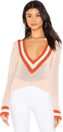 Superdown Bobbie V Neck Sweater in Peach