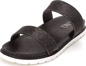 xoxo Womens Rio1 Open Toe Casual Slide Sandals, Black, Size 6.5 US / 4.5 UK US