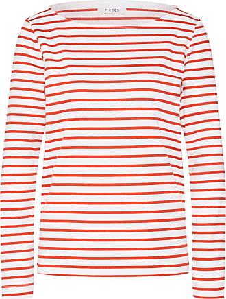 Pieces Langarmshirt INGRID rot / weiß