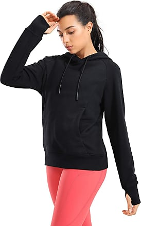 CRZ YOGA Womens Cotton Pullover Hoodies Drawstring Hooded Sweatshirt Kangaroo Pocket Hoody with Thumbholes Black 12