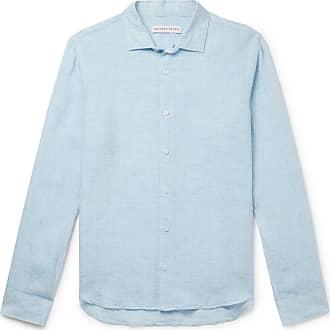 Orlebar Brown Giles Cutaway-collar Linen Shirt - Blue