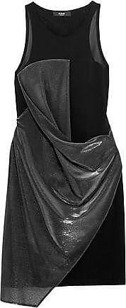 df096108a1fe Versus Versus Versace Woman Paneled Lamé And Woven Mini Dress Black Size 36
