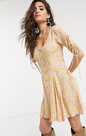 Free People laced up floral buttondown mini dress-Pink
