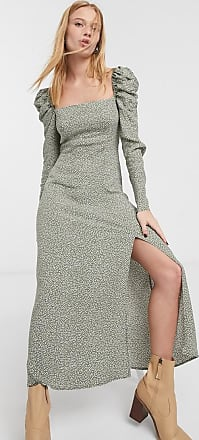 & Other Stories dotty print puff sleeve maxi dress in green