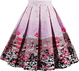 EUDOLAH Womens Vintage Floral Swing Full Circle Pleated Skirts Pink2XL