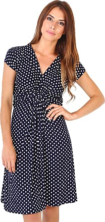 Krisp Polka Dot Dress Short Sleeve Twist Knot Front V Neck Mini Swing Dress Party Summer (Navy [6488], 18), 6488-NVY-18