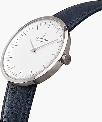 Nordgreen Infinity - Silver | Navy Blue Leather - 32mm / Silver
