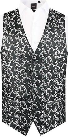 Dobell Mens Black/Silver Waistcoat Regular Fit 5 Button Edwardian Swirl Jacquard Pattern-4XL (58-60in)