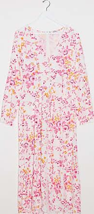 Monki Lo - Vestito lungo in jacquard a fiori rosa