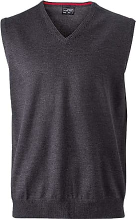 James & Nicholson Classical Mens Sleeveless Cotton Sweater - L - Anthracite-Melange