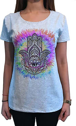 Irony Womens Top Chakra Meditation Peace Hamsa Hand of Fatima Eye Palm Tie Dye Print TS1755 Grey