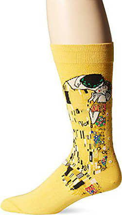 Hot Sox Mens Famous Artist Series Novelty Crew Socks, The Kiss (Yellow), Shoe Size: 6-12