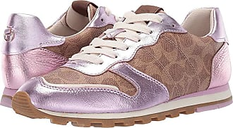 fd5340b50206 Coach C118 Runner with Signature Coated Canvas with Metallic (Tan Pink)  Womens Shoes