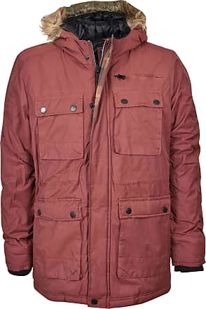 True Face Mens Jacket Parka Padded Fur Coat Buttoned Zip Long Sleeve Winter Hood with Pockets Casual Top Available Sizes S, M, L, XL in Khaki, Red, Blue Colour