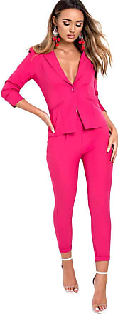 Ikrush isa Taiored Bazer and Cropped Trouser Co-ord Pink UK L