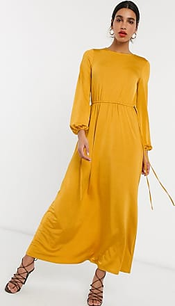 Asos slinky satin maxi dress with toggle waist in gold
