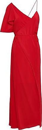 Michelle Mason Michelle Mason Woman Cape-effect Silk Crepe De Chine Midi Wrap Dress Red Size 0