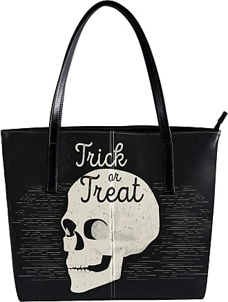 Nananma Womens Bag Shoulder Tote handbag with Zombie Skull Head Print Zipper Purse PU Leather Top-handle Zip Bags