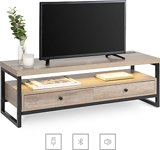 Best Choice Products Bluetooth TV Storage Stand Decor w/ Speakers, LED Lights, Open Shelf - Brown - Brown